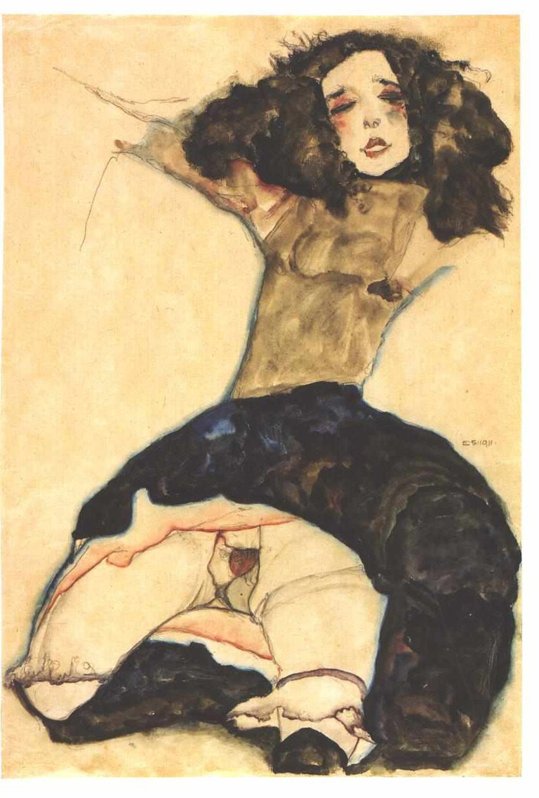 Egon Schiele, 'Black-Haired Girl With Lifted Skirt', 1911