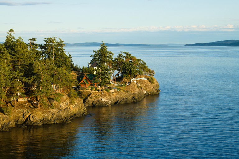 Looking across the Southern tip of North Pender Island into Swanson Channel.