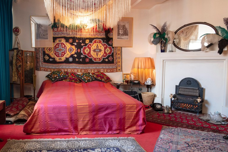 Jimi Hendrix's bedroom - in the flat of his girlfriend Cathy Etchingham at the Handel and Hendrix house museum, London