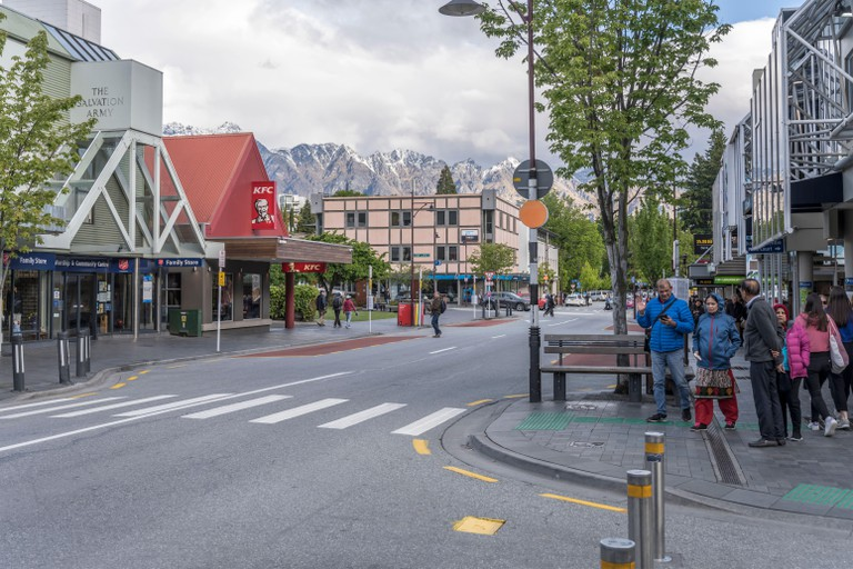 Downtown Queenstown with peaks of Remarkables renge
