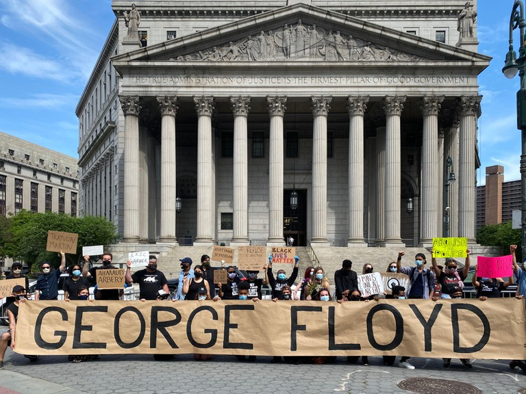 Demonstration and march in NYC to send a message that the murder of Black people by police cannot continue. The murder of George Floyd in Minneapolis by an obviously mentally deranged police officer never should have happened. The whole justice system in