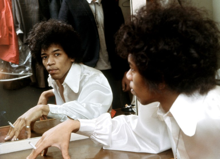 Jimi Hendrix in his dressing room at the Saville Theatre, London, June 1967