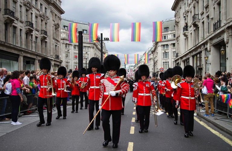 London Pride parade making its way down Oxford Street in central London