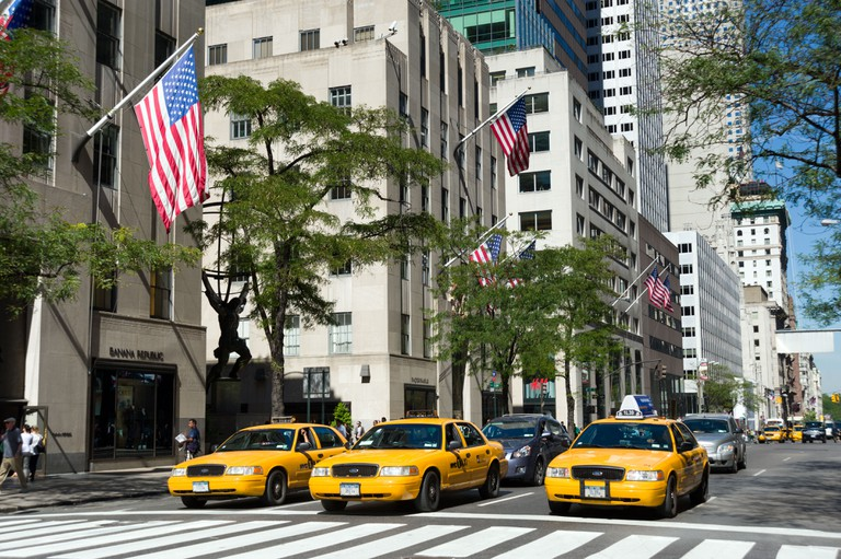 Taxis on Fifth Avenue, New York City