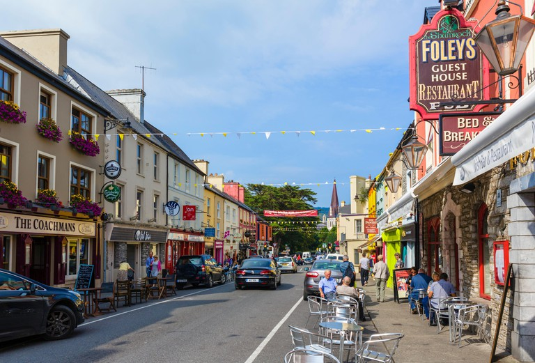 Pubs, shops and hotels on Henry Street, Kenmare, County Kerry, Republic of Ireland