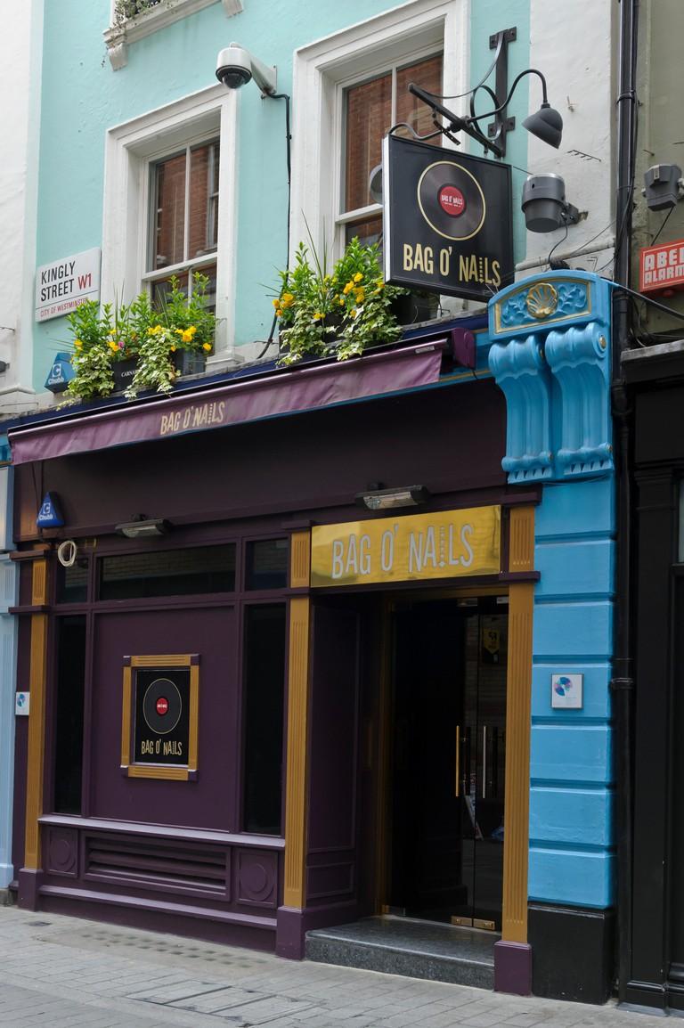 The Bag O' Nails club exterior building, Soho