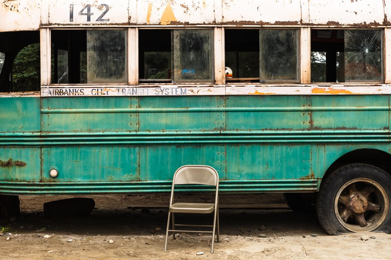 The famous Bus 142 where Christopher McCandless was found dead, by the Stampede Trail, near Denali National Park, Alaska