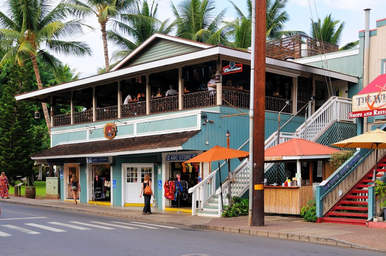 Restaurants in the main avenue of the city of Lahaina in the island of Maui, Hawaii