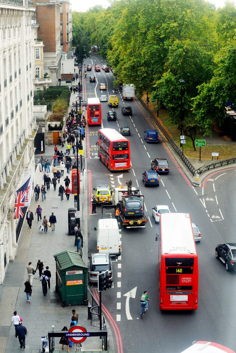 Jimi Hendrix view down Park Lane, from the then Cumberland Hotel, suite 507-8, Great Cumberland Place, W1. The £17-a-night fifth-floor suite where the rock guitarist checked in (6 Sept. 1970) for 5 weeks after his last-ever British concert and before his final interview and death