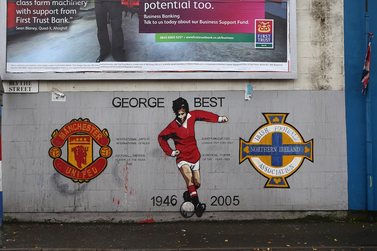 Mural dedicated to George Best in Sandy Row,Belfast,Northern Ireland.UK. Image shot 2014. Exact date unknown.