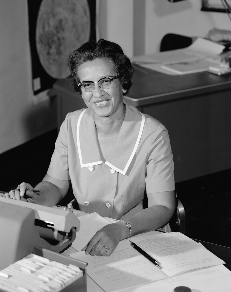 NASA human computer and African-American mathematical pioneer Katherine Johnson at a desk with notes, 1966