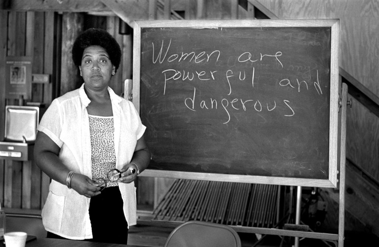 African-American writer, feminist, poet and civil-rights activist Audre Lorde during her 1983 residency at the Atlantic Center for the Arts in New Smyrna Beach, Florida