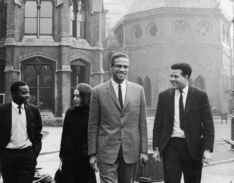 Malcolm X in Oxford before addressing university students on the subject of extremism and liberty, 1964