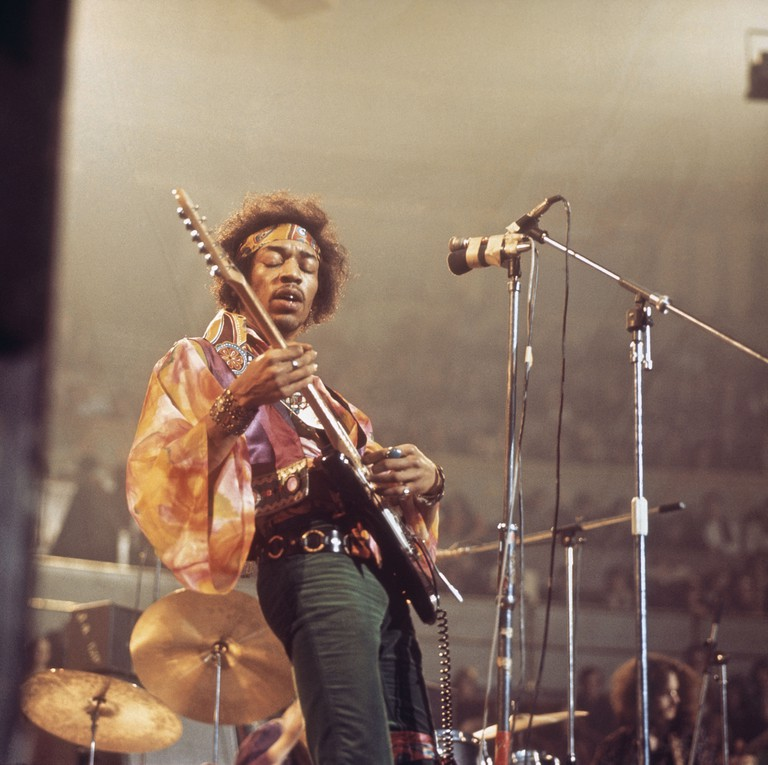 American rock guitarist and singer Jimi Hendrix (1942-1970) performs live on stage at the Royal Albert Hall in London, 24th February 1969