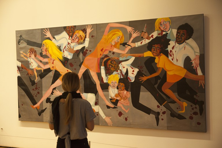 American People Series #20: Die, 1967. Oil on canvas, by Faith Ringgold, b. 1930. (Evokes US race riots from the 1960's) MoMA