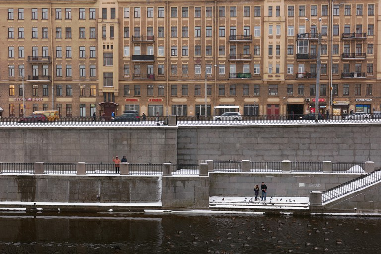 Embankment of Obvodny canal in St. Petersburg, Russia