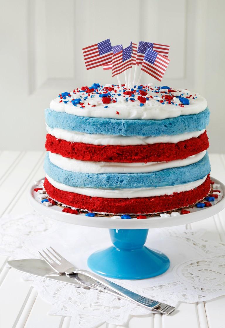 Red velvet and blueberry flag cake