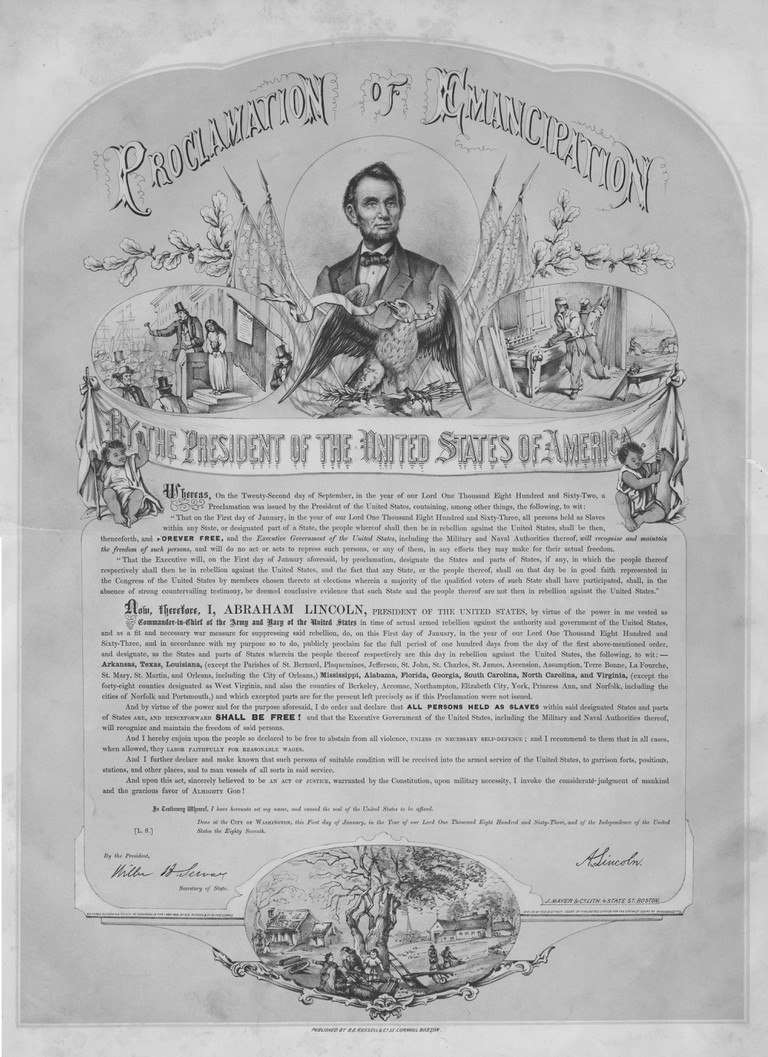 Proclamation of Emancipation by the President of the United States Abraham Lincoln, also known as the Emancipation Proclamation, an important document from the American Civil War, 1863