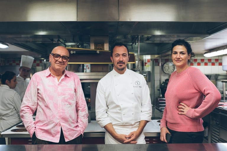 Executive Chef Romain Meder (centre) at Plaza Athenee for GELINAZ!, Stay In Tour