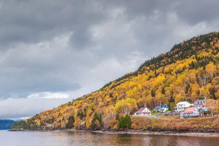 Canada, Quebec, Saguenay-Lac Saint-Jean Region, Saguenay Fjord, L'Anse-Saint-Jean, village view, autumn