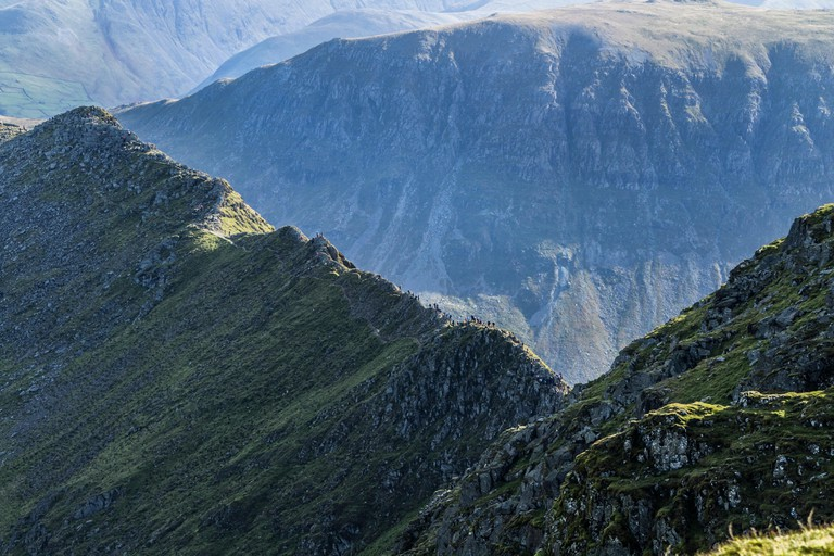 Striding Edge from the Summit of Helvellyn, Lake District, Cumbria, UK