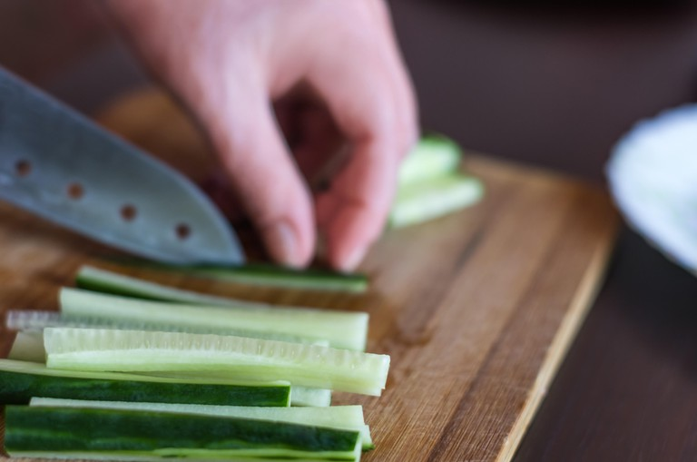 Cutting cucumber matchsticks
