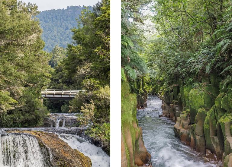 Left: Aniwaniwa Stream, waterfalls below Highway 38 bridge, Te Urewera National Park | Right: Te Whaiti-Nui-A-Toi Canyon, Te Urewera National Park