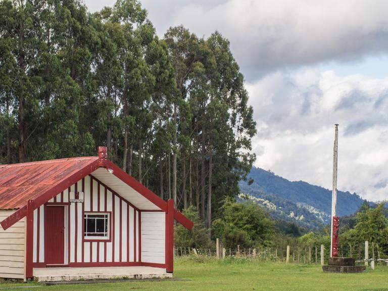 Whare tipuna Kakahu-Tapiki, at Kakanui (Tipapa) marae, Ruatahuna, Te Urewera, New Zealand. The primary hapu is Kakahu-Tapiki of Ngai Tuhoe