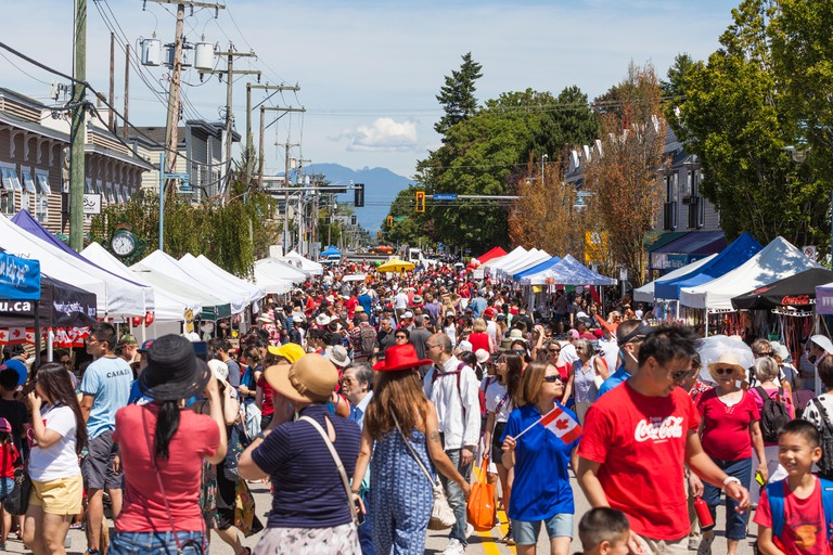 Canada Day street party in Steveston Village, British Columbia, Canada