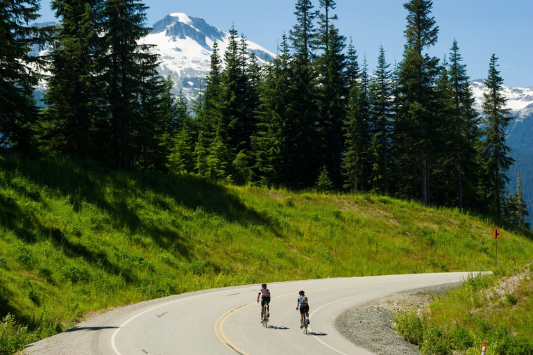 Whistler, BC, Canada: Road biking in the Callaghan Valley ? Stock Photo
