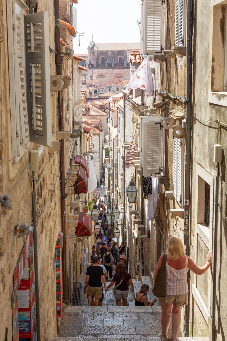 Dubrovnik old town medieval narrow streets, steps and alleyways
