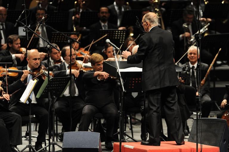 Live concert of Ennio Morricone at the Arcimboldi Theater, Milan
