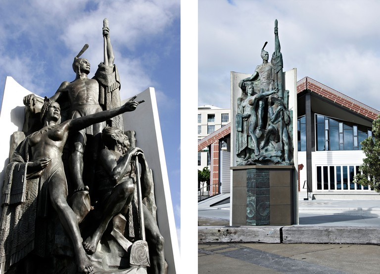 Statues of Kupe, the legendary explorer with his wife, Hine Te Apārangi, and his tohunga