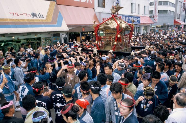 Portable shrine Mikoshi Summer shrine festival Asahikawa Hokkaido Japan Asia