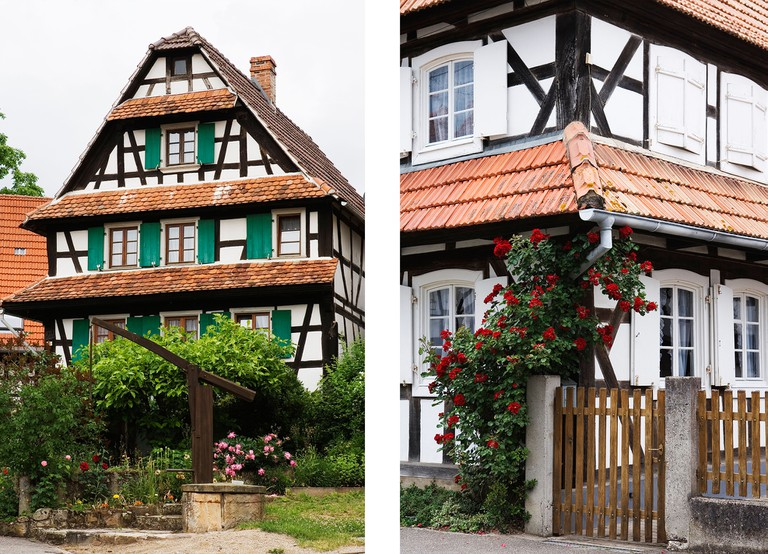 Left: Traditional timbered house | Right: Red roses in blossom