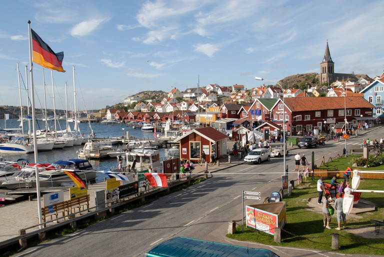 The town and the harbor of Fjallbacka, Bohuslan, Sweden