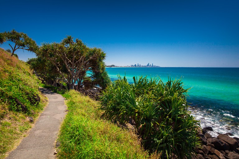 Gold Coast skyline and surfing beach visible from Burleigh Heads, Queensland