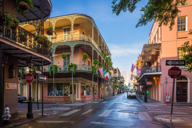 Typical buildings in the French Quarter area of New Orleans, Louisiana.  The French Quarter is the oldest and most famous and vi