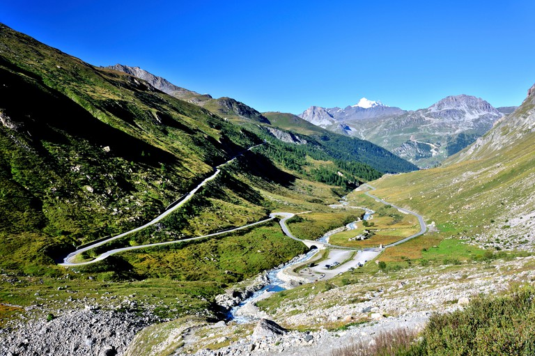 Valley Val-D'Isere the bridge St. Charles, Route des Grandes Alpes, French Alps, France.