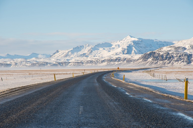 The icelandic ring road in south iceland near Vatnajokull
