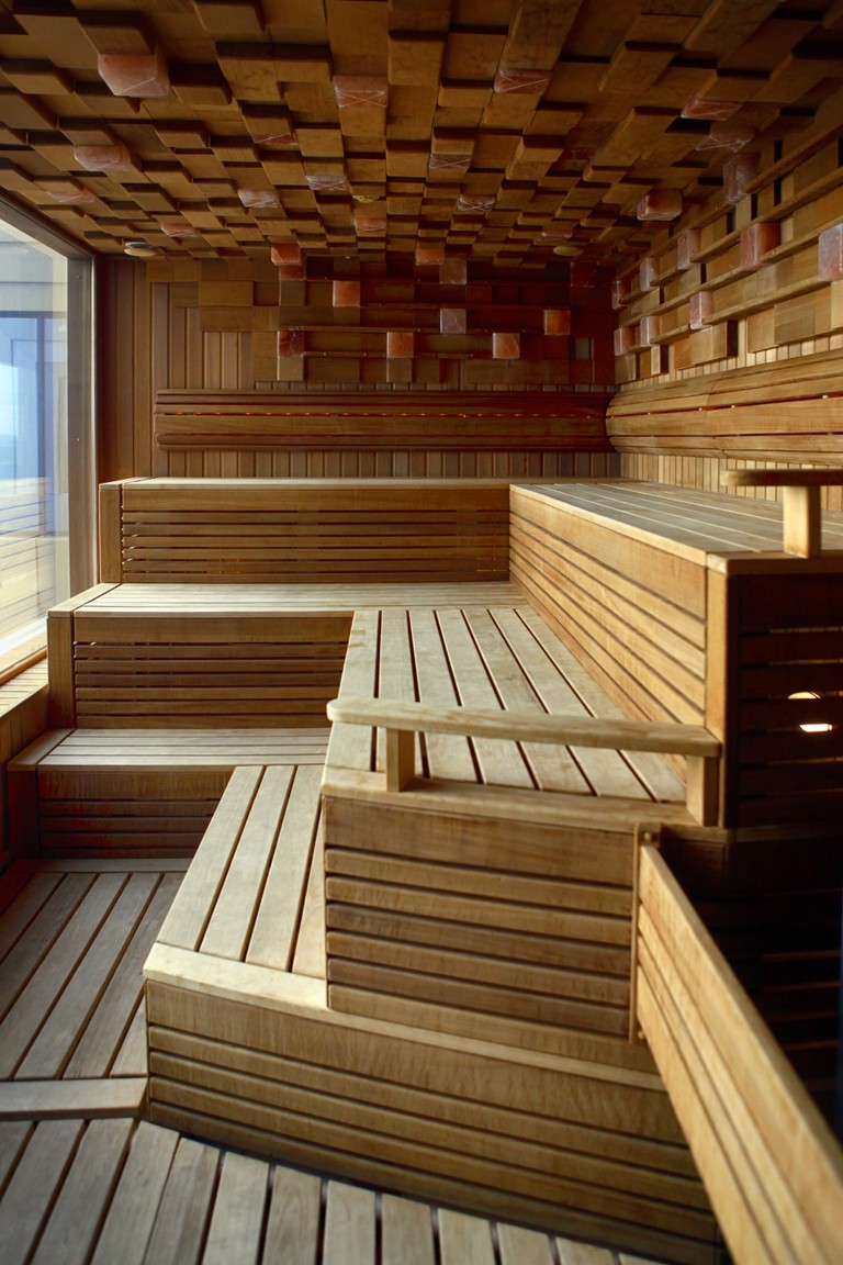Interior of Finnish sauna