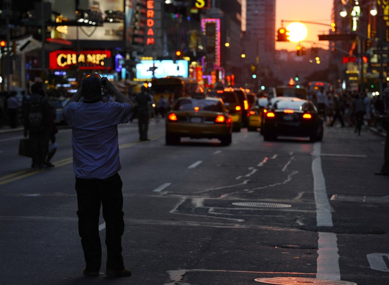 42nd Street in New York during Manhattanhenge
