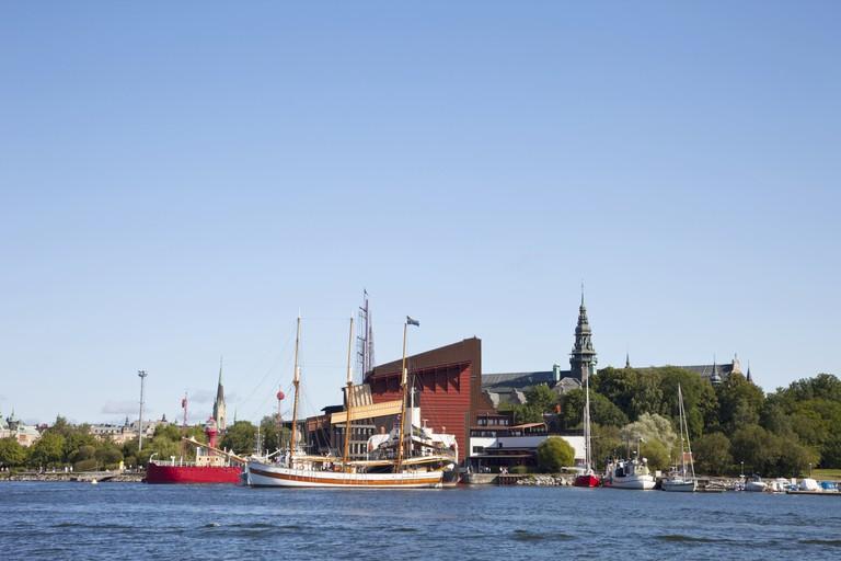 Djurgården Stockholm, Sweden with Wasa museum and vintage boats.