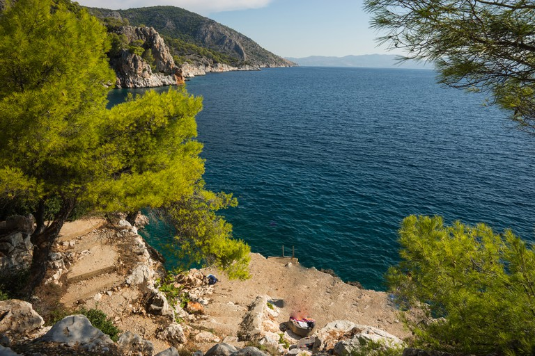 Scenic Seafront and the beach, Agistri Island, Greece.
