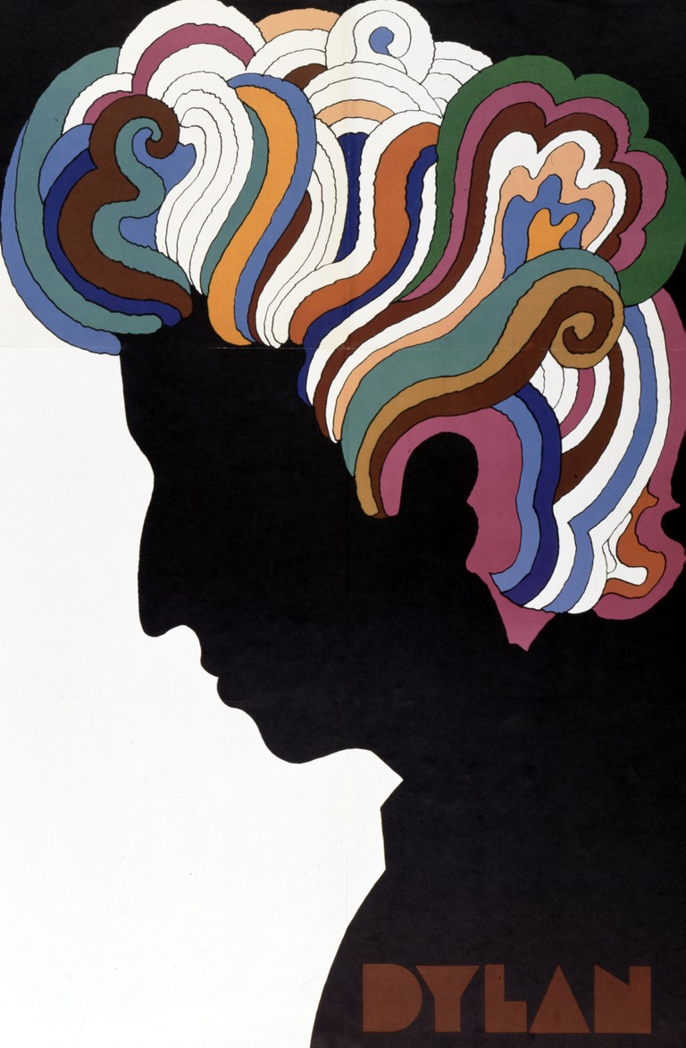"Bob Dylan poster designed by Milton Glaser as an insert to the album ""Bob Dylan's Greatest Hits"" which was released on March 27, 1967"