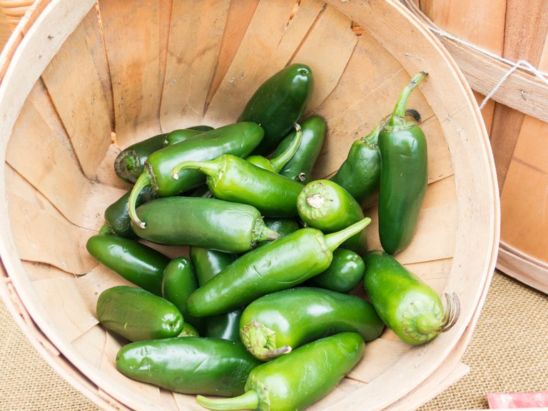 Jalapeno chilli peppers in basket