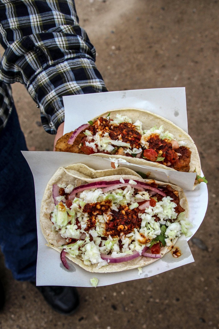 Fish tacos from a street food vender in Baja, Mexico