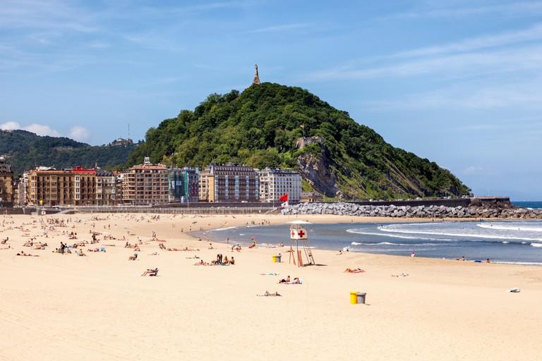 Zurriola beach in San Sebastian, Donostia. Basque country, Spain