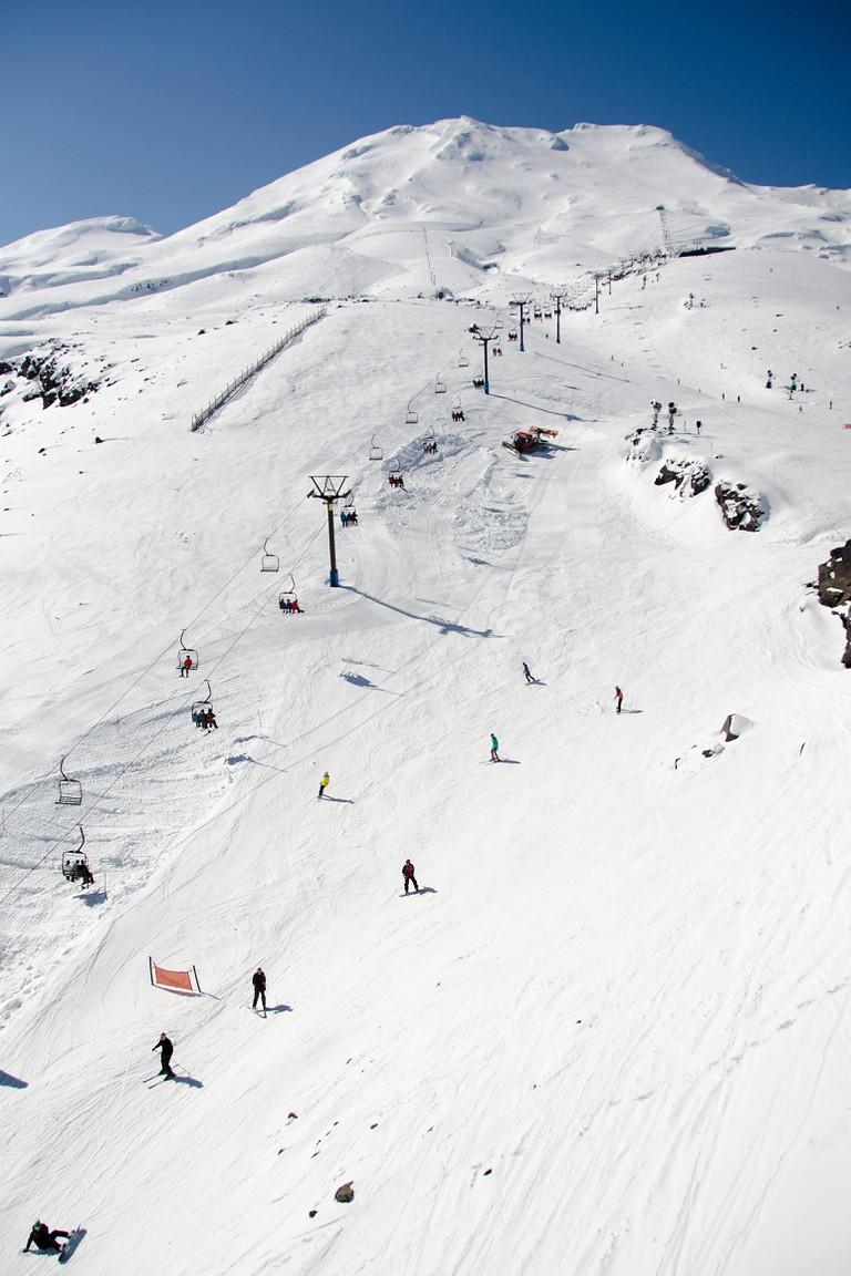 Snowboarding at Mount Ruapehu volcano