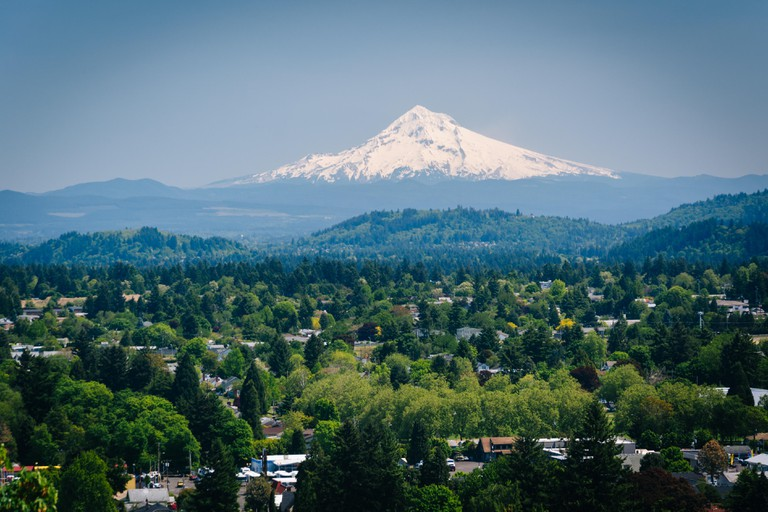 View of Mount Hood from Mount Tabor, in Portland, Oregon.